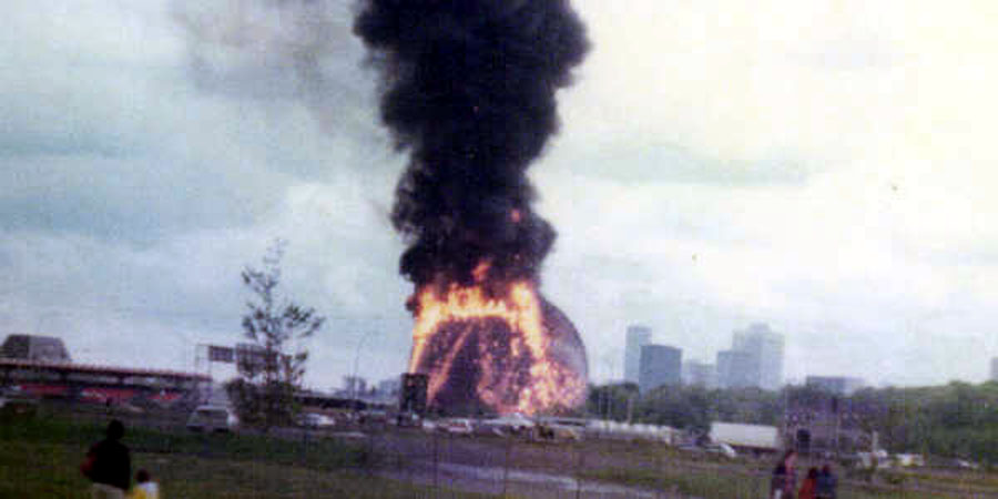 dome montreal burning